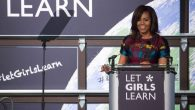 WASHINGTON, D.C. — On Tuesday, March 8 at Union Market in N.E. DC, First Lady Michelle Obama speaks at an event with young women, students, and stakeholder hosted by the U.S. Department of State's Office of Global Women's Issues. This is the one year anniversary of Let Girls Learn and celebrates International Women's Day. (Photo by Cheriss May/NurPhoto) (Photo by Cheriss May/NurPhoto/NurPhoto via Getty Images)
